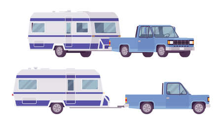 Camper trailer light blue car, covered wagon, family camping trip