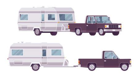 Camper trailer black car and covered wagon, family camping trip Ilustração