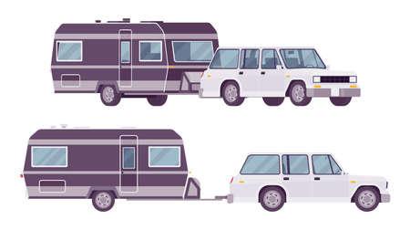 Camper trailer car and covered black wagon, family camping trip Ilustração
