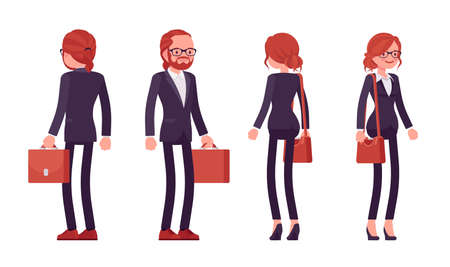 Businessman, businesswoman red haired office worker standing Ilustração