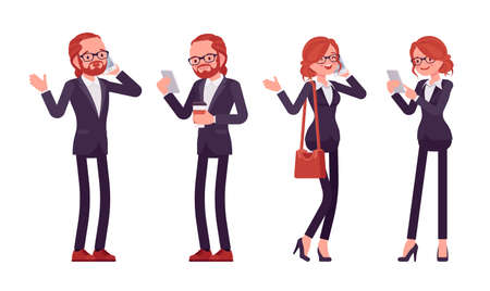 Businessman, businesswoman red haired office worker standing with phone