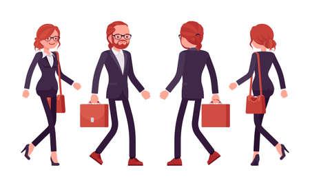 Businessman, businesswoman red haired office worker walking