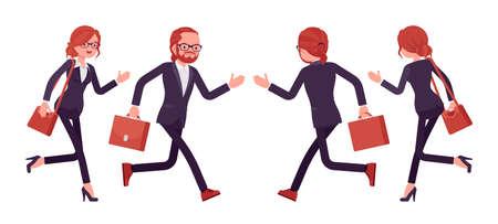 Businessman, businesswoman red haired office worker running Ilustração