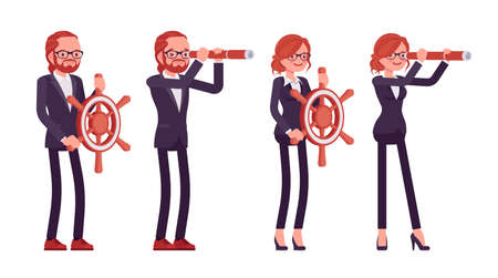 Businessman, businesswoman red haired office worker with spy glass, wheel