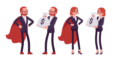 Businessman, businesswoman red haired office worker in cloak, money sack Ilustração