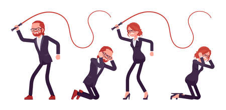 Businessman, businesswoman red haired office worker with whip
