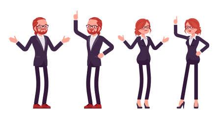 Businessman, businesswoman, teacher red haired office worker