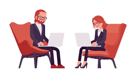 Businessman, businesswoman red haired office worker with laptop Ilustração