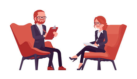 Businessman, businesswoman red haired office worker with clipboard