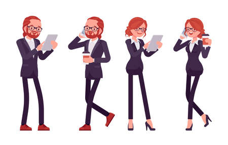 Businessman, businesswoman red haired office worker standing with phone, tablet