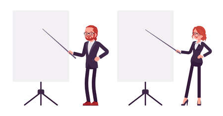 Businessman, businesswoman red haired office worker standing at whiteboard Ilustração