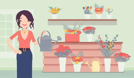 Small scale business-owner, privately owned flower shop Ilustração