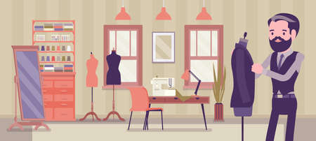 Small scale business-owner, privately owned tailor shop Ilustração