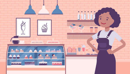 Small scale business-owner, privately owned confectionary store Ilustração