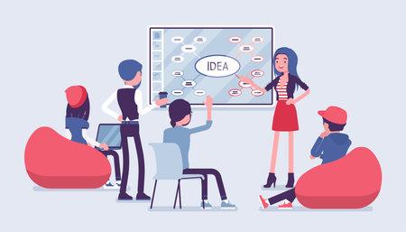 Interactive whiteboard, smart board presentation for start up