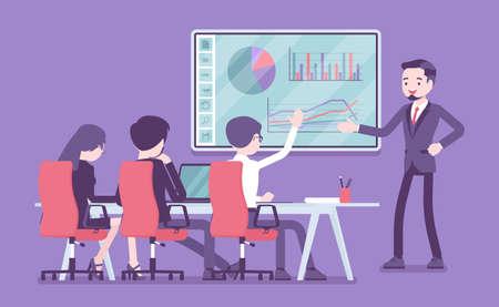 Interactive whiteboard, smart board presentation for business people Ilustração
