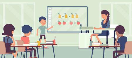 Interactive whiteboard, smart board learning and presentation for school Ilustração Vetorial