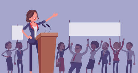 Motivational business speech, inspiring charismatic female leader Ilustração