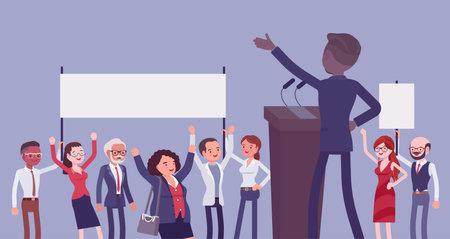 Motivational business speech, inspiring charismatic male leader, rear view Ilustração