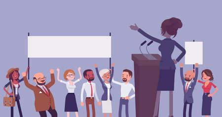 Motivational business speech, inspiring charismatic female leader, rear view Ilustração