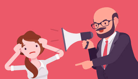 Bossy man crying into megaphone in loud voice addressing woman