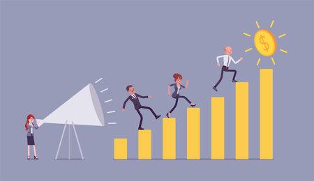 Motivational speech for entrepreneurs, workers on growing bar chart Ilustração