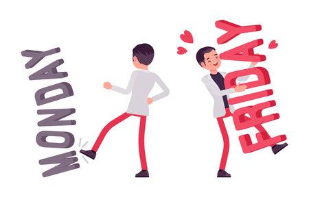 Smart young businessman, kicking monday, hugging friday letters Ilustração