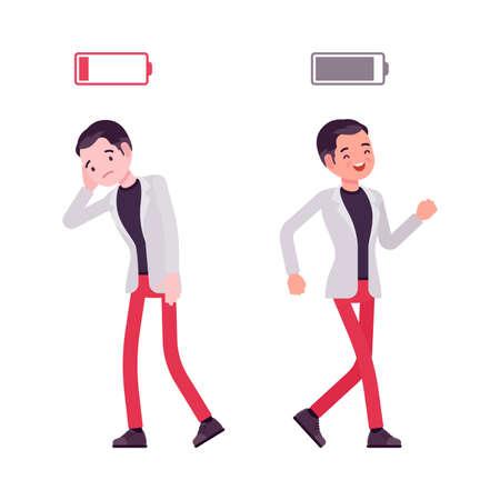 Smart businessman, entrepreneur, business manager with full, empty energy battery Ilustração