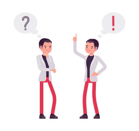 Smart businessman, entrepreneur, business manager with exclamation, question mark bubble Ilustração
