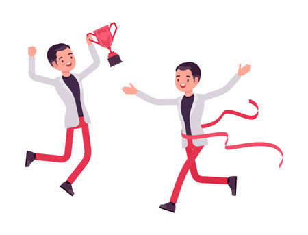 Smart businessman, business manager winning ribbon trophy, crossing finish line