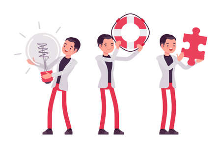 Smart businessman, business manager with giant bulb lamp, lifebuoy, puzzle