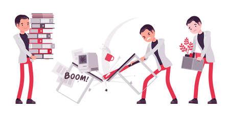 Smart businessman, business manager paperwork overload, smashing computer, fired worker Ilustração