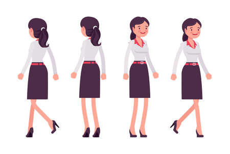 Smart young businesswoman, female entrepreneur, owner, business manager, front, rear