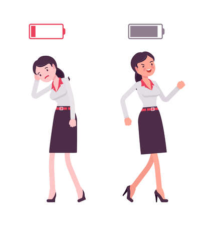 Smart businesswoman, entrepreneur, business manager with full, empty energy battery
