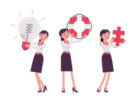 Smart businesswoman, business manager with giant bulb lamp, lifebuoy, puzzle