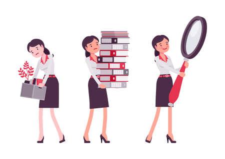 Smart businesswoman, business manager paperwork overload, magnifying, fired worker Ilustração