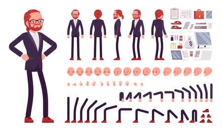 Businessman, red haired office worker construction set Ilustração