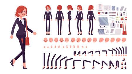 Businesswoman, red haired office worker construction set Ilustração