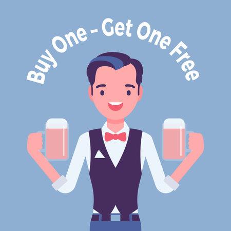 Buy one get free, beer bar, tavern pub sale promotion