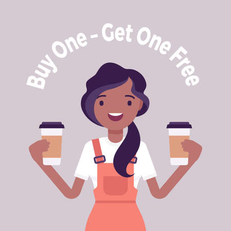 Buy one, get free, coffeehouse, coffee shop, cafe sale promotion