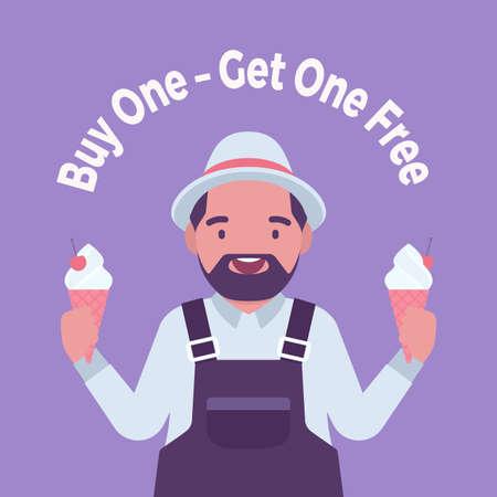 Buy one, get one free, ice cream shop sale promotion Ilustração