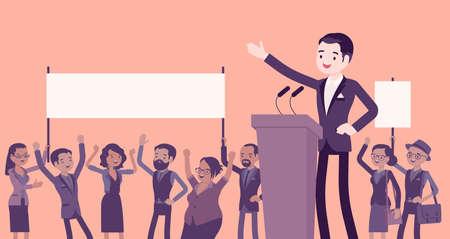 Motivational business speech, inspiring charismatic male leader Ilustração