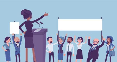 Motivational business speech, inspiring charismatic female leader, rear Ilustração