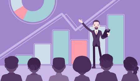 Motivational business speech, inspiring marketing, financial report