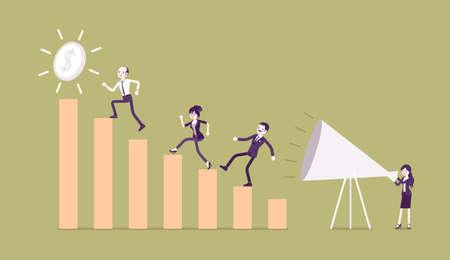 Giant megaphone motivational speech, entrepreneurs, workers, growing bar chart