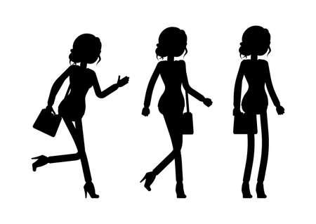 Businesswoman silhouette, office worker standing, walking, going Ilustração Vetorial