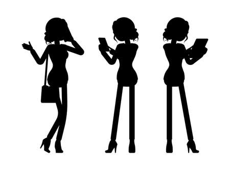 Businesswoman silhouette, office worker with phone, tablet