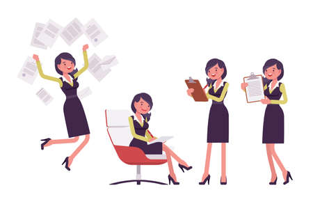 Attractive businesswoman, woman in secretary pencil office dress with paper