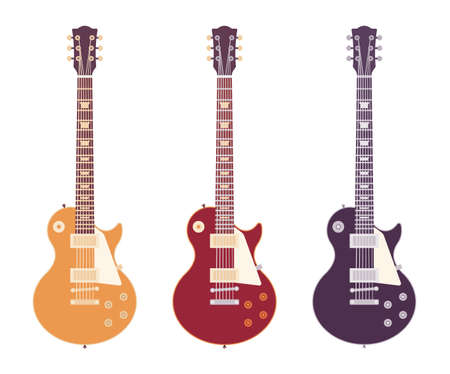 Electric guitar set, musical instrument jazz, pop, rock, country music Vektorgrafik