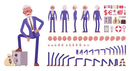 Handsome old man, elderly businessman construction set